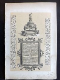 Charles Richardson 1840's Print. Bronze Ink Stand, Plaster Frieze
